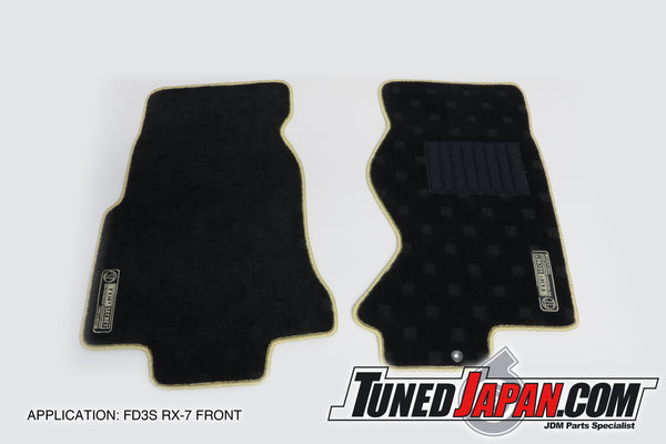 TOP SECRET FLOOR MAT SET FRONT GOLD STITCH - FD3S RX-7
