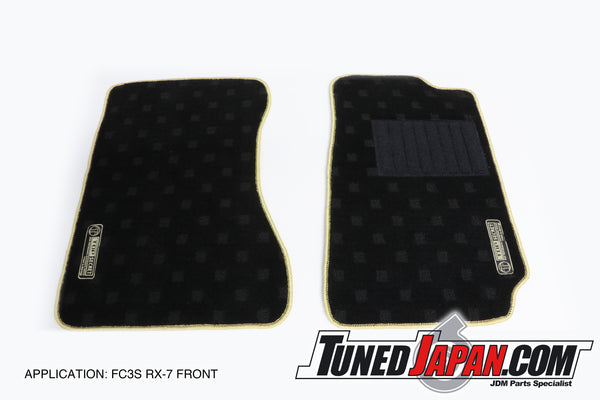 TOP SECRET FLOOR MAT SET FRONT GOLD STITCH - FC3S RX-7