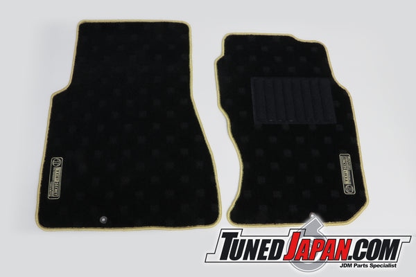 TOP SECRET FLOOR MAT SET FRONT GOLD STITCH - BNR32 SKYLINE GTR