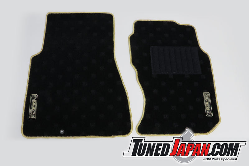 TOP SECRET | FLOOR MAT SET | FRONT & REAR | GOLD STITCH | BNR32 | SKYLINE GTR | 1989 ~ 1994