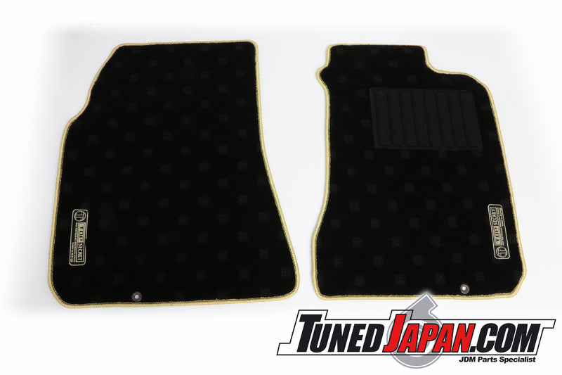 TOP SECRET FLOOR MAT SET FRONT GOLD STITCH - RPS13 180SX