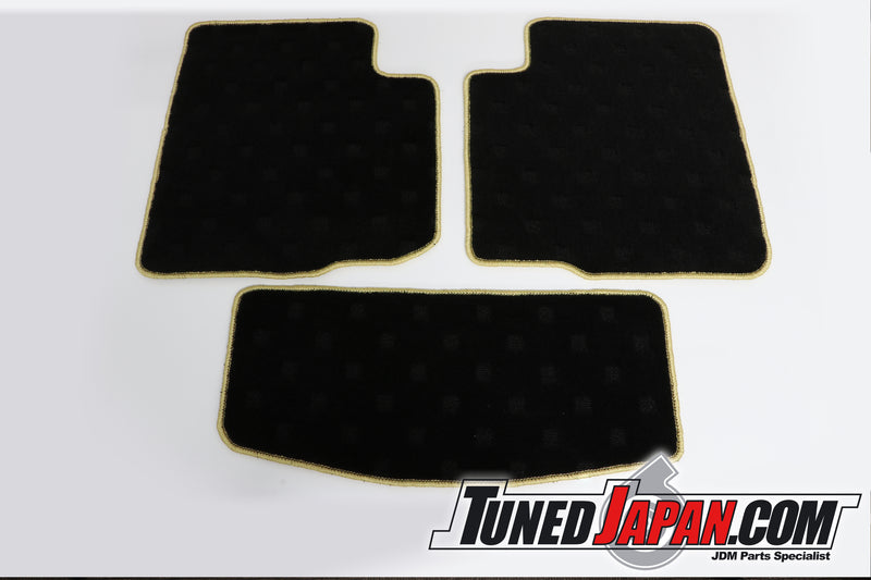 TOP SECRET FLOOR MAT SET FRONT & REAR GOLD STITCH - BNR32 SKYLINE GTR
