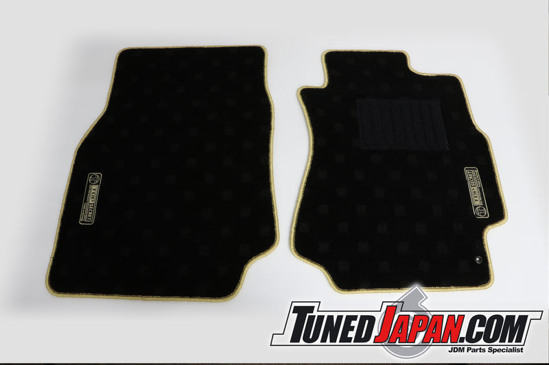 TOP SECRET FLOOR MAT SET FRONT & REAR GOLD STITCH - JZX100 MARK II