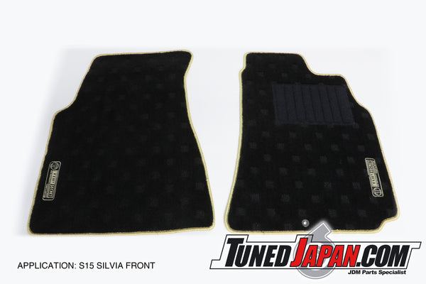 TOP SECRET FLOOR MAT SET FRONT & REAR GOLD STITCH - S15 Silvia
