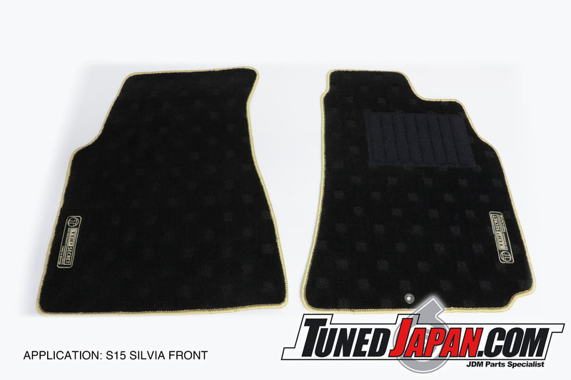 TOP SECRET | FLOOR MAT SET | FRONT & REAR | GOLD STITCH | S15 SILVIA | 1999 ~ 2002
