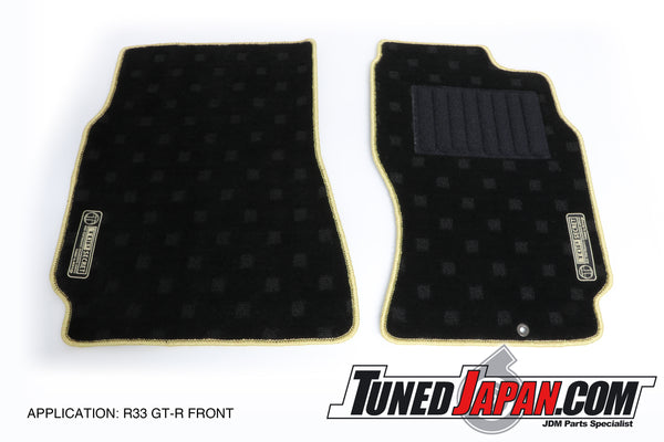 TOP SECRET FLOOR MAT SET FRONT & REAR GOLD STITCH - R33 BNR33 SKYLINE GTR