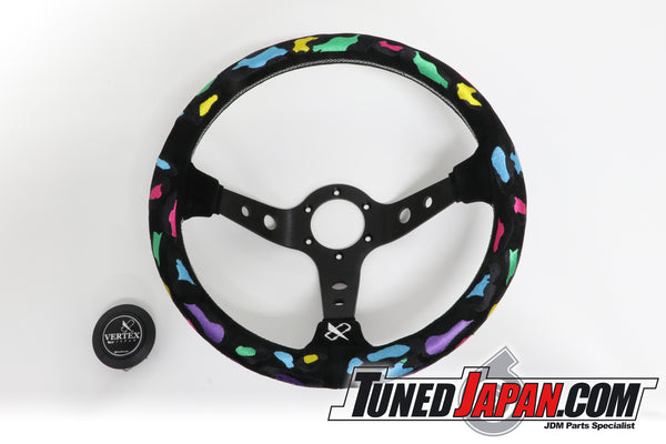 CAR MAKE T&E VERTEX - LEOPARD - STEERING WHEEL - SUEDE - TEAL GREEN/SILVER