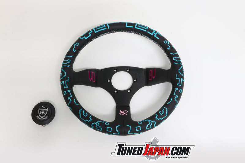 CAR MAKE T&E  - VERTEX x BOWZ - STEERING WHEEL - LEATHER - 65MM SEMI DEEP 325MM