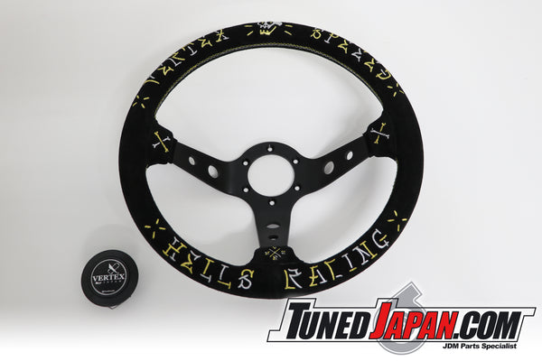 CAR MAKE T&E VERTEX SPEED - HELLS RACING- STEERING WHEEL - SUEDE - GOLD/SILVER