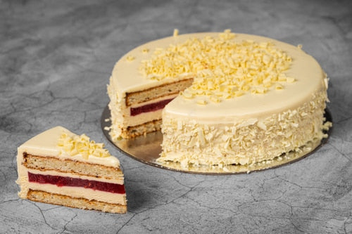 Gluten free layered vanilla raspberry cake with jam for foodservice
