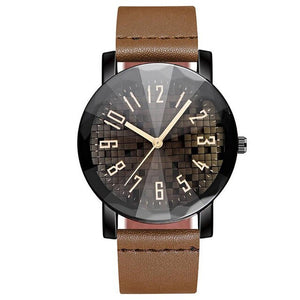 Men's Watch Leather Band Convex