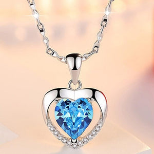 Silver Necklaces Blue Crystal
