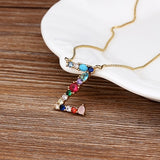 Personalized Name Letter Necklace Rainbow