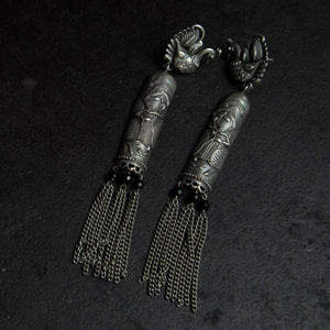 Rebel Hearts Ethnic Earrings having oxidized colors. These beauties are called the Tassel drop