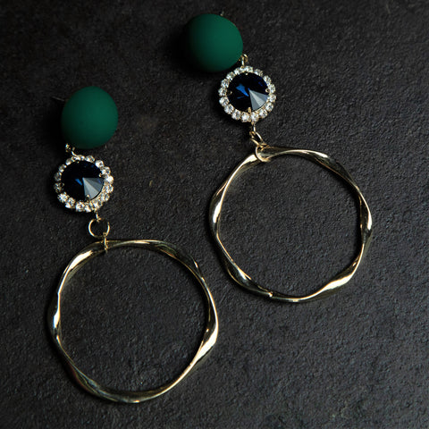 Rebel Hearts Modern Earrings having Blue, Golden colors. These beauties are called the Other Worldly design