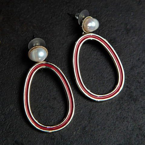 Rebel Hearts Modern Earrings having red, white colors. These beauties are called the Spunky vibe