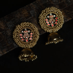 Rebel Hearts Ethnic Earrings having Red, Gold toned colors. These beauties are called the The jewel of the Royals