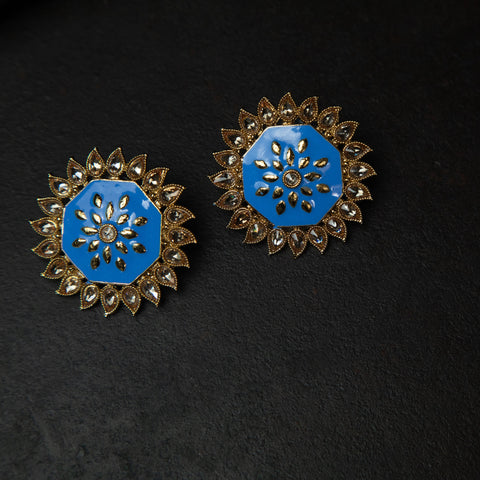 Rebel Hearts Ethnic Earrings having Blue, Gold toned colors. These beauties are called the Stone studded Studs