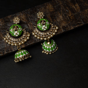 Rebel Hearts Ethnic Earrings having Green, Gold toned colors. These beauties are called the The Beautiful Design
