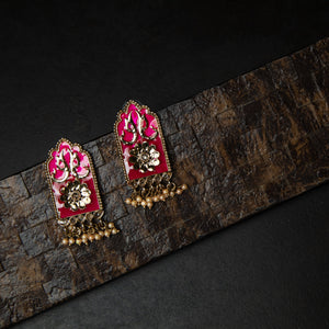 Rebel Hearts Ethnic Earrings having Pink, Gold toned colors. These beauties are called the The royal Studs