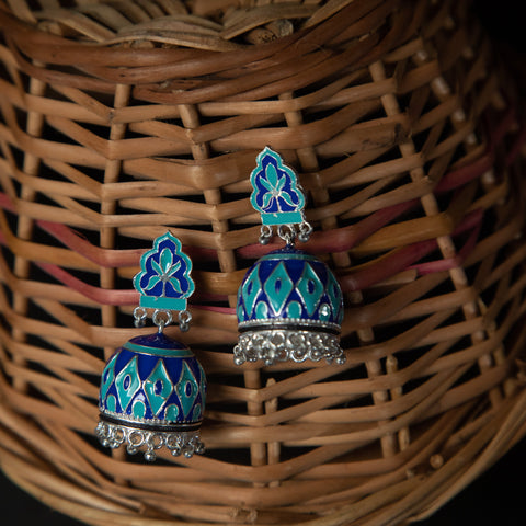 Rebel Hearts Ethnic Earrings having blue colors. These beauties are called the Simple enameled jhumke