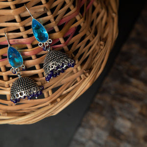 Rebel Hearts Ethnic Earrings having blue, Oxidized colors. These beauties are called the The stony affair