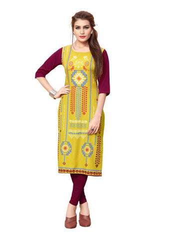 Yellow And Maroon Color Crepe Kurti