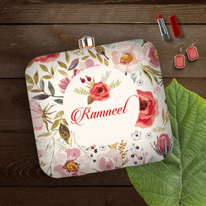 This clutch has the text enclosed in a circle on a garden full of vibrant flowers. A thoughful gift for the vibrant better half in your life
