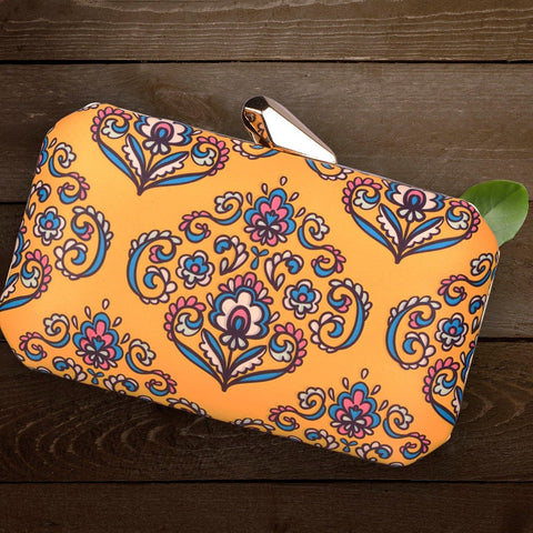 Haathi Mera Saathi, Fabric Printed Clutches;  This Fabric Rounded Box clutch is made up of Polyester silk with Sling Chain included and fabric on both sides. It has a smooth, soft finish with sturdy metal Frame. It easily accomodates all smart phones and is comfortable to carry with sling chain included in the package.