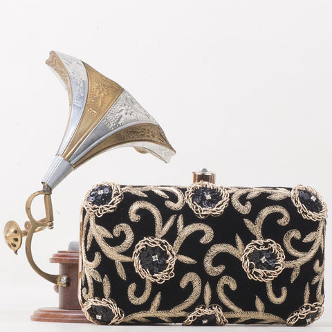 Abstract  gold Embroidered Clutch named Blackgold