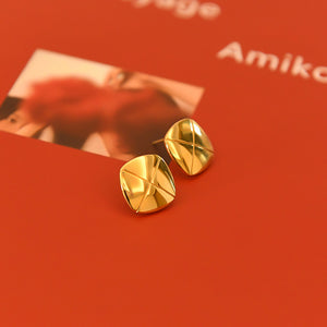 Golden Square Button Earrings