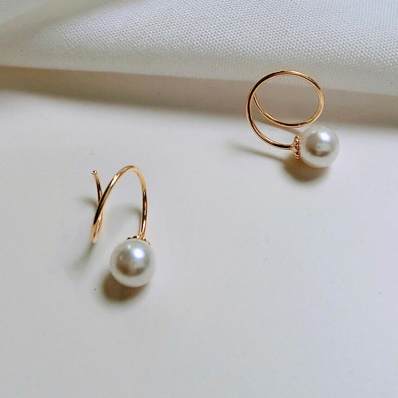 Silver Winding Pearl Earrings