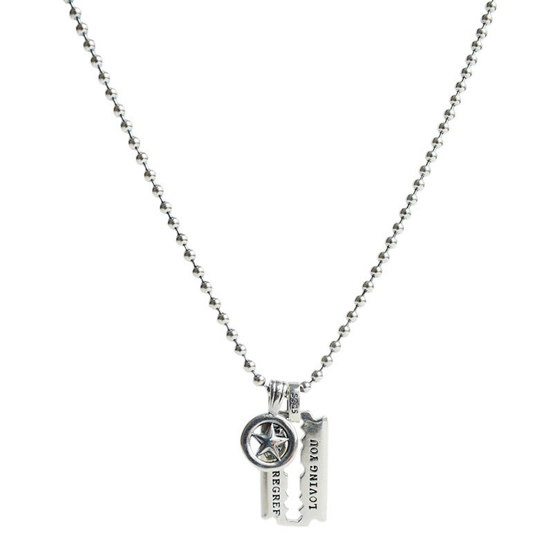 Silver Blade Pendant Necklace