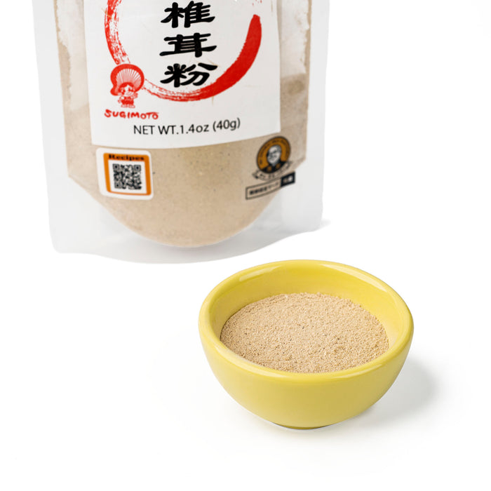 A bowl of shiitake mushroom powder next to package of the product