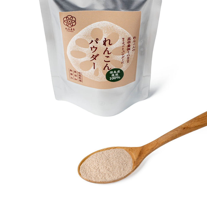 A wooden spoon of Japanese lotus root powder next to package bag of the product