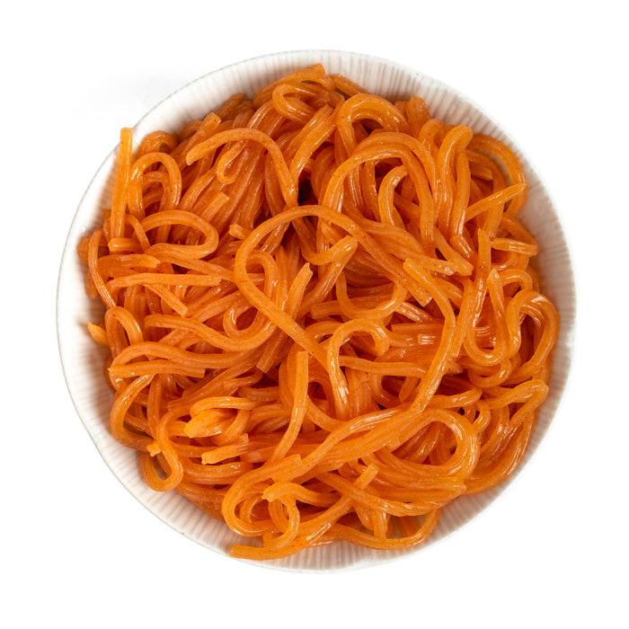 A bowl of carrot blended shirataki noodles