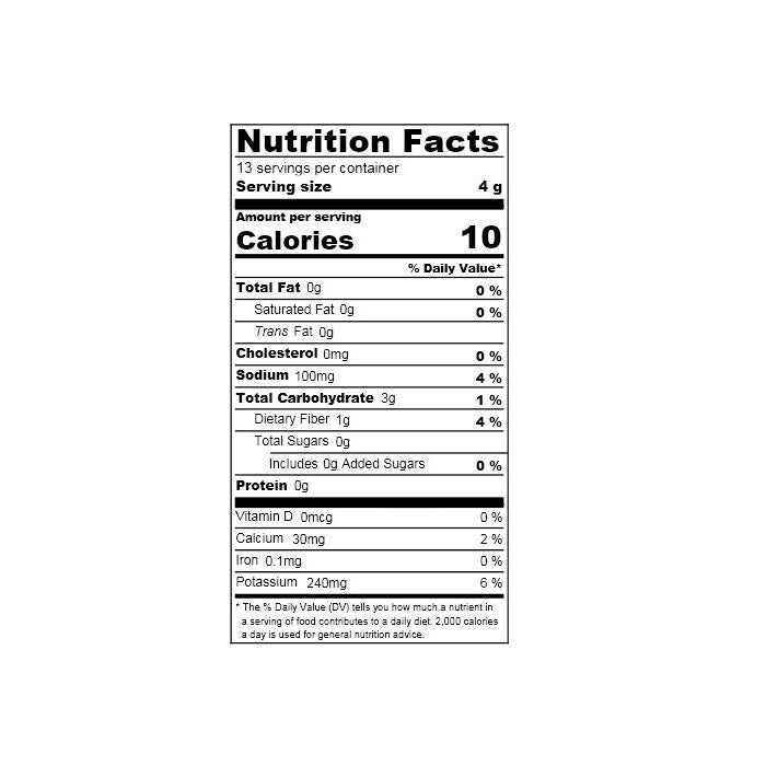 Nutrition facts label of the product