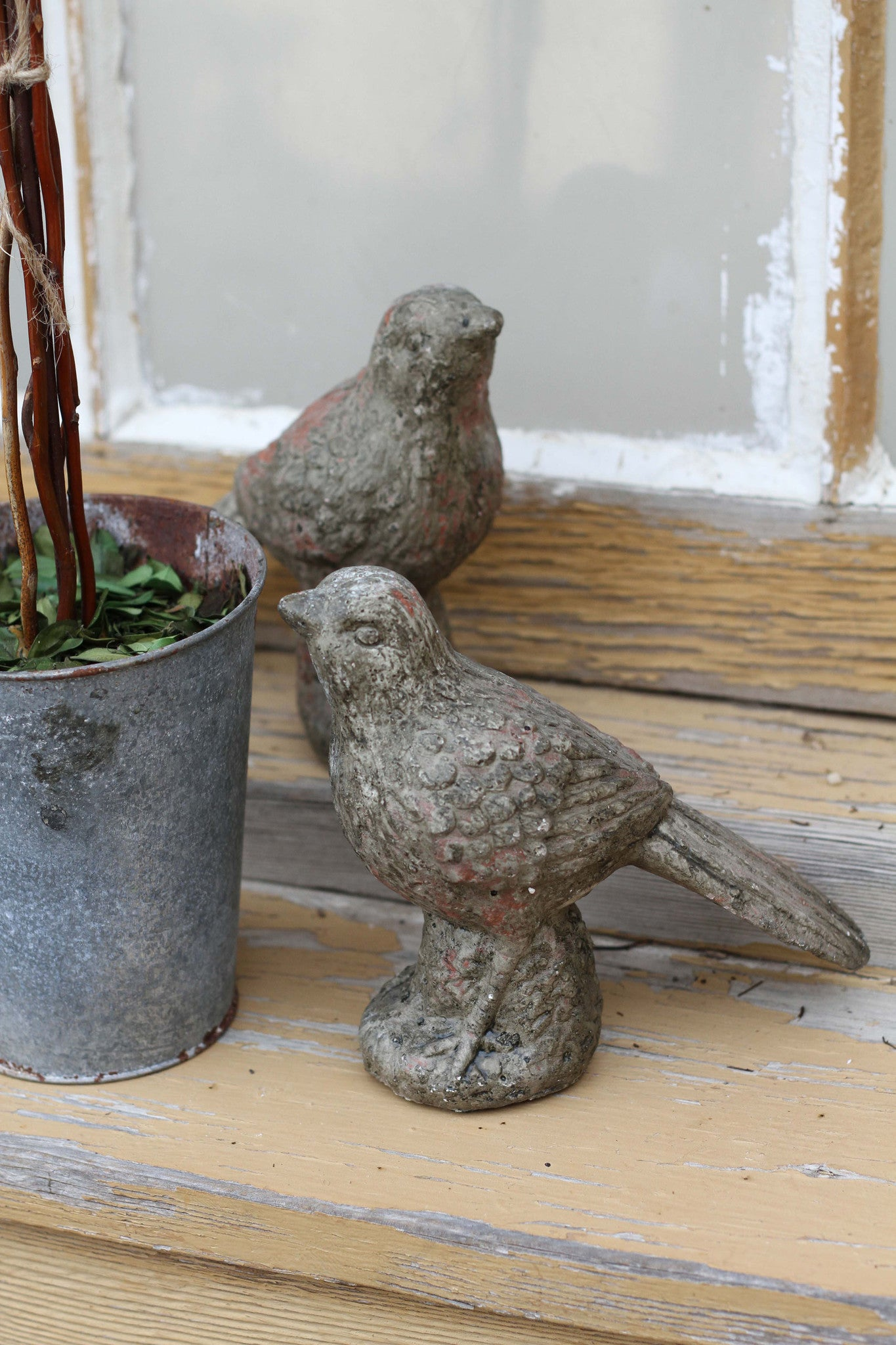 Set of 2 Stone Bird Figurines