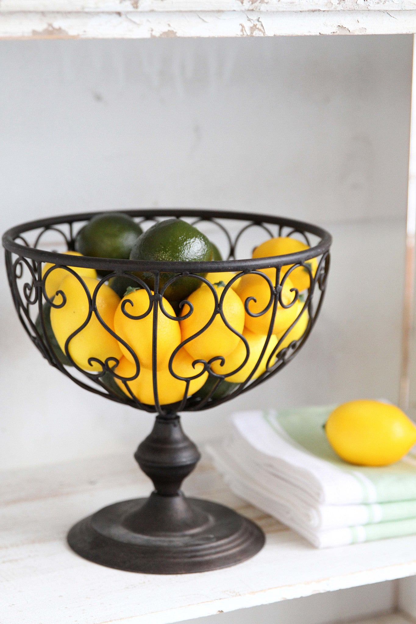 Metal Pedestal Bowl in Patina Bronze