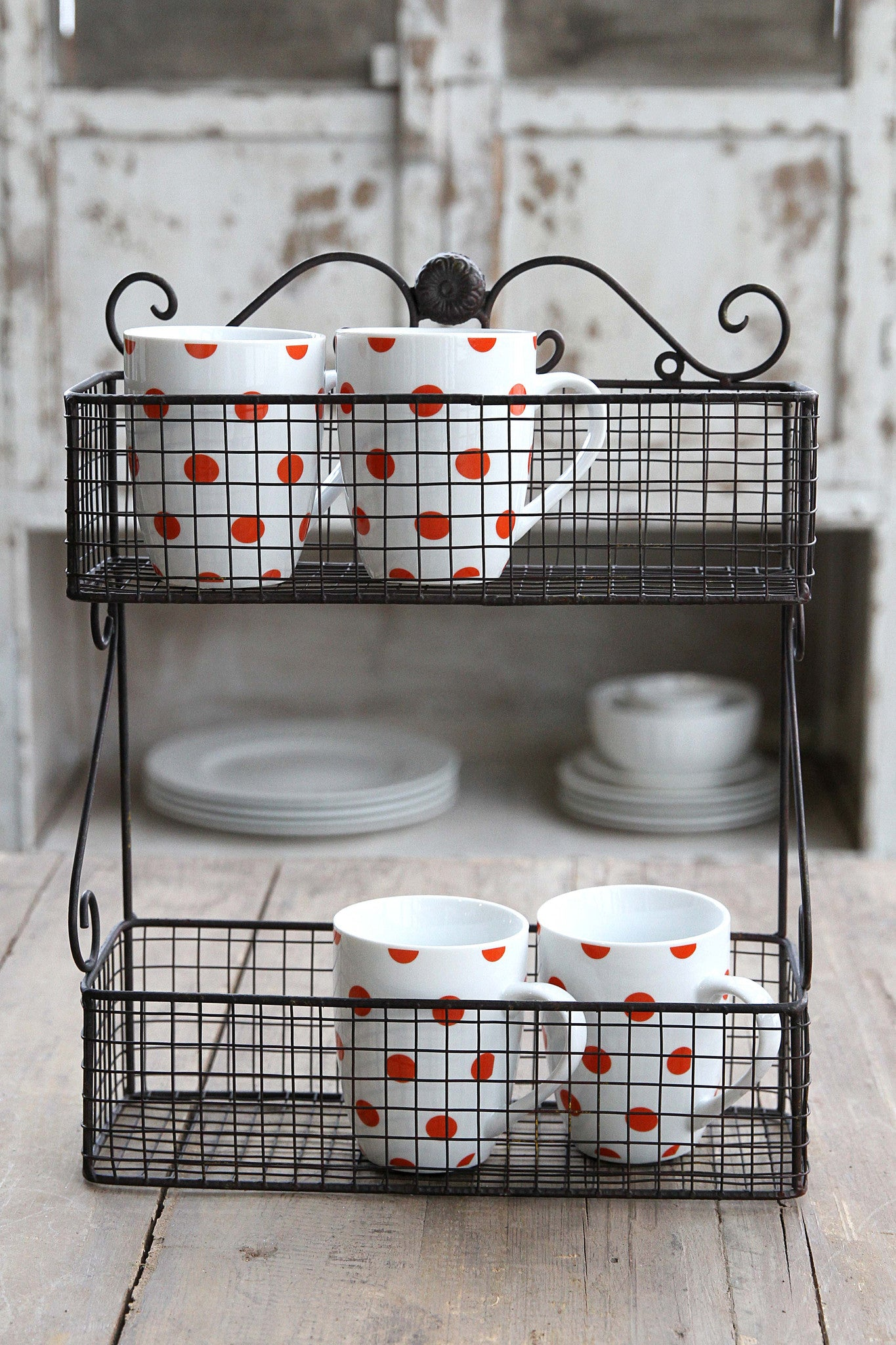2-Tier Wall Basket Finished in Antique Rust!