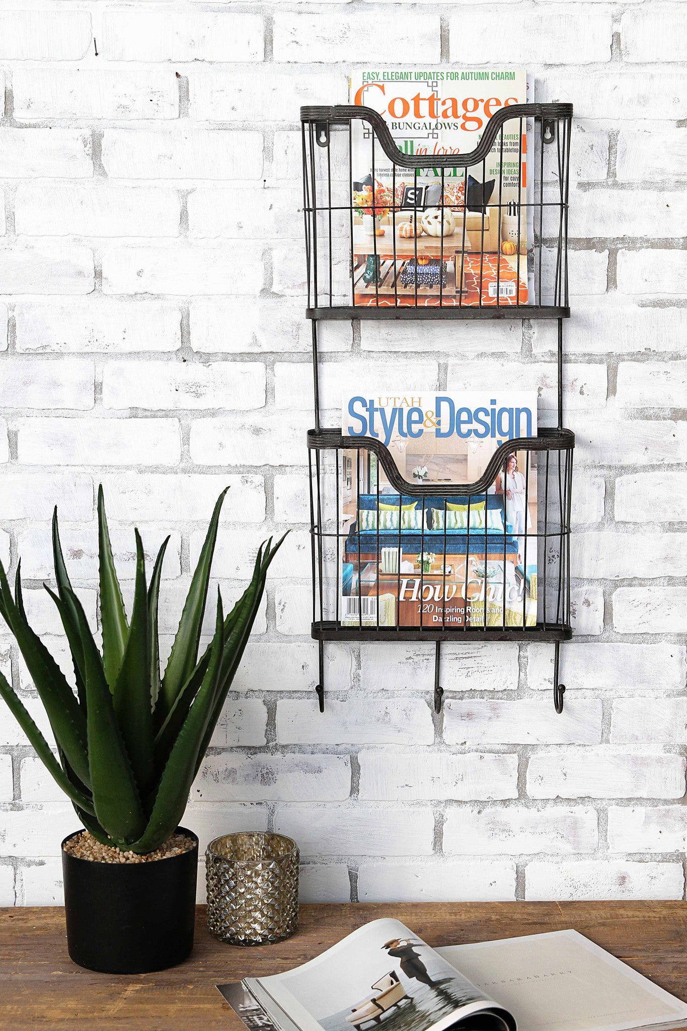 Metal Double Wall Basket with Hooks
