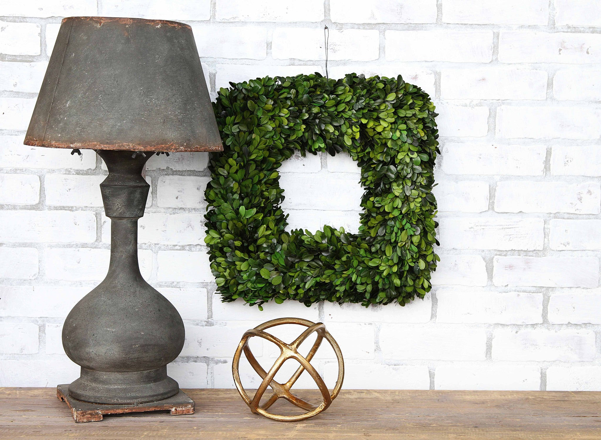 "16"" Square Preserved Boxwood Wreath"