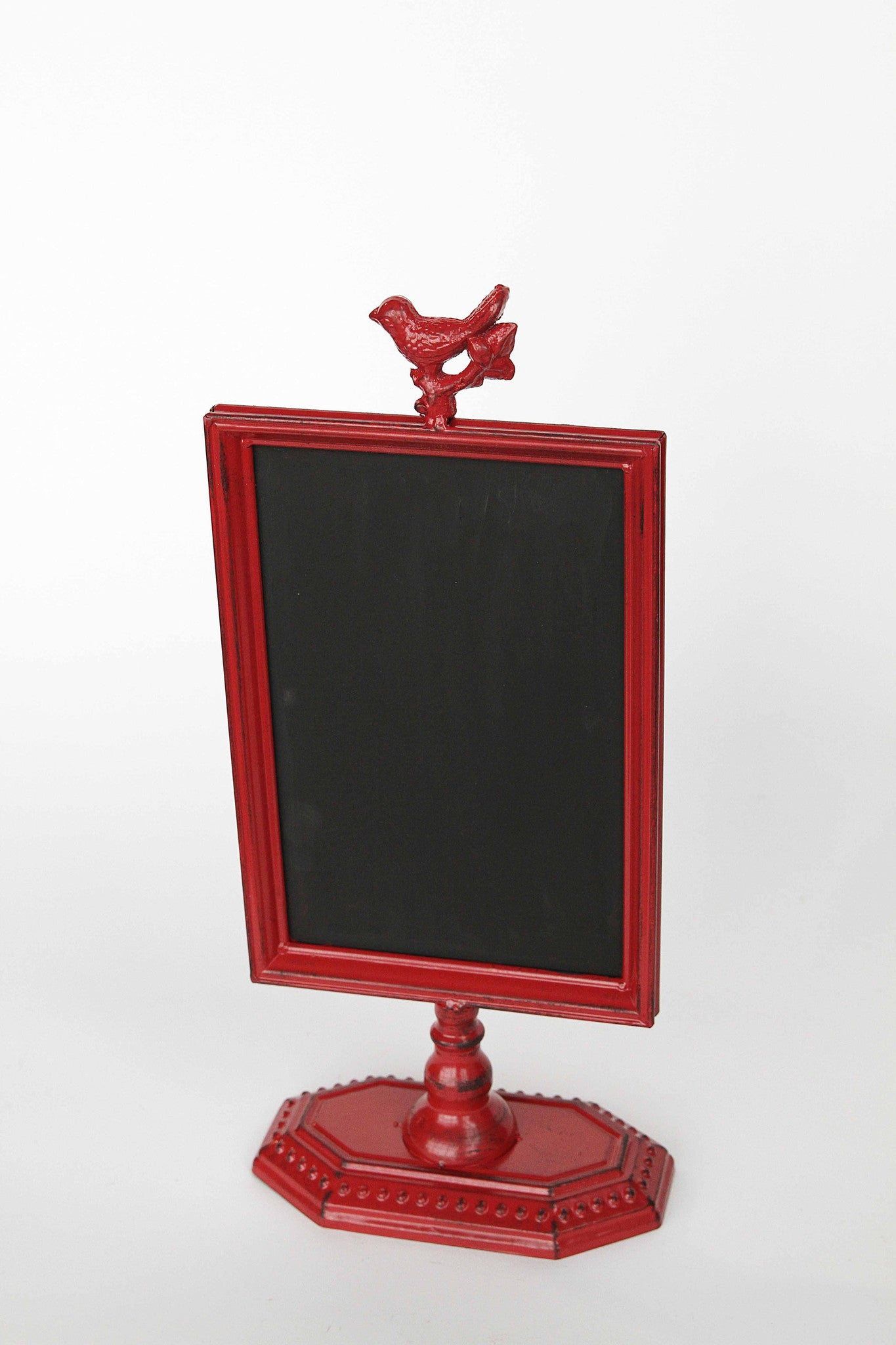 Metal Chalkboard with Bird Ornament & Stand