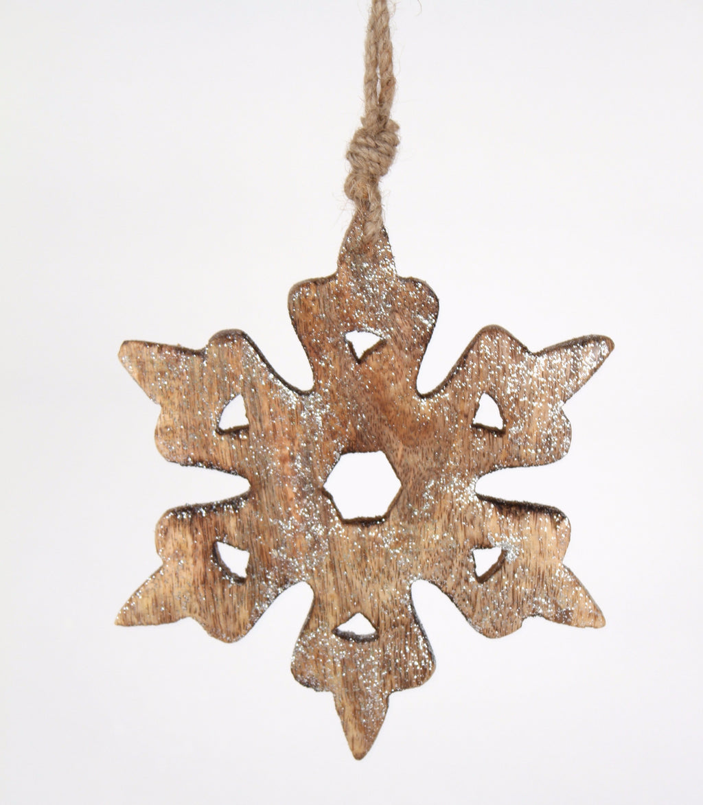GLITTERED WOODEN SNOWFLAKE ORNAMENT
