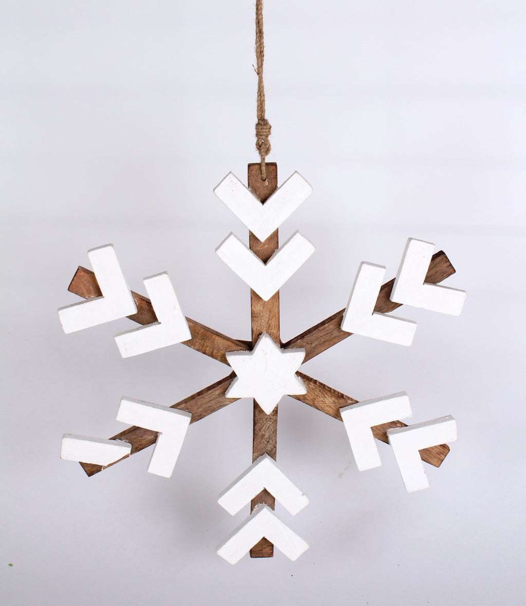 LARGE RUSTIC NATURAL WOOD AND WHITE SNOWFLAKE