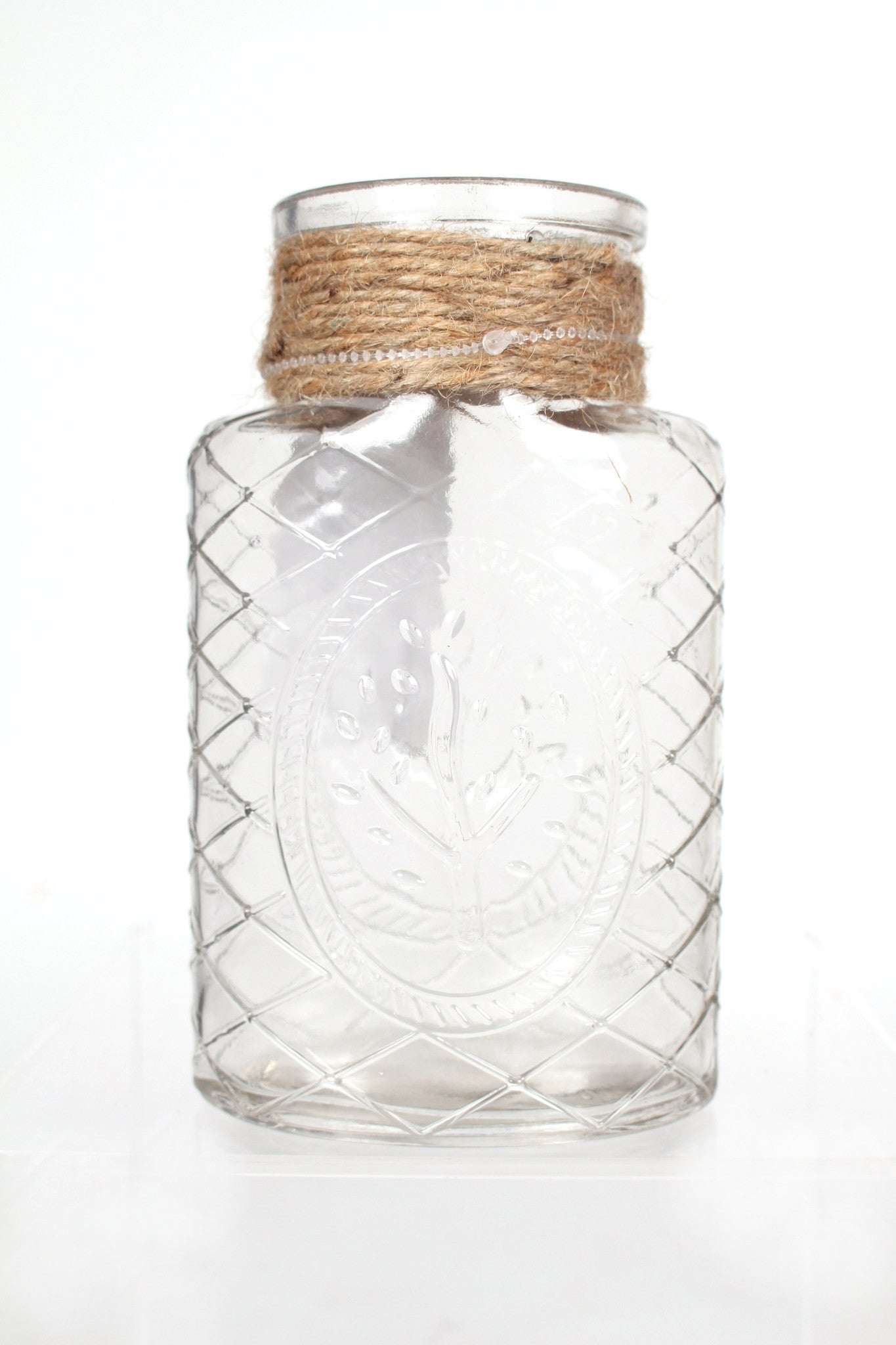 Etched Glass Vase with Rope Accent