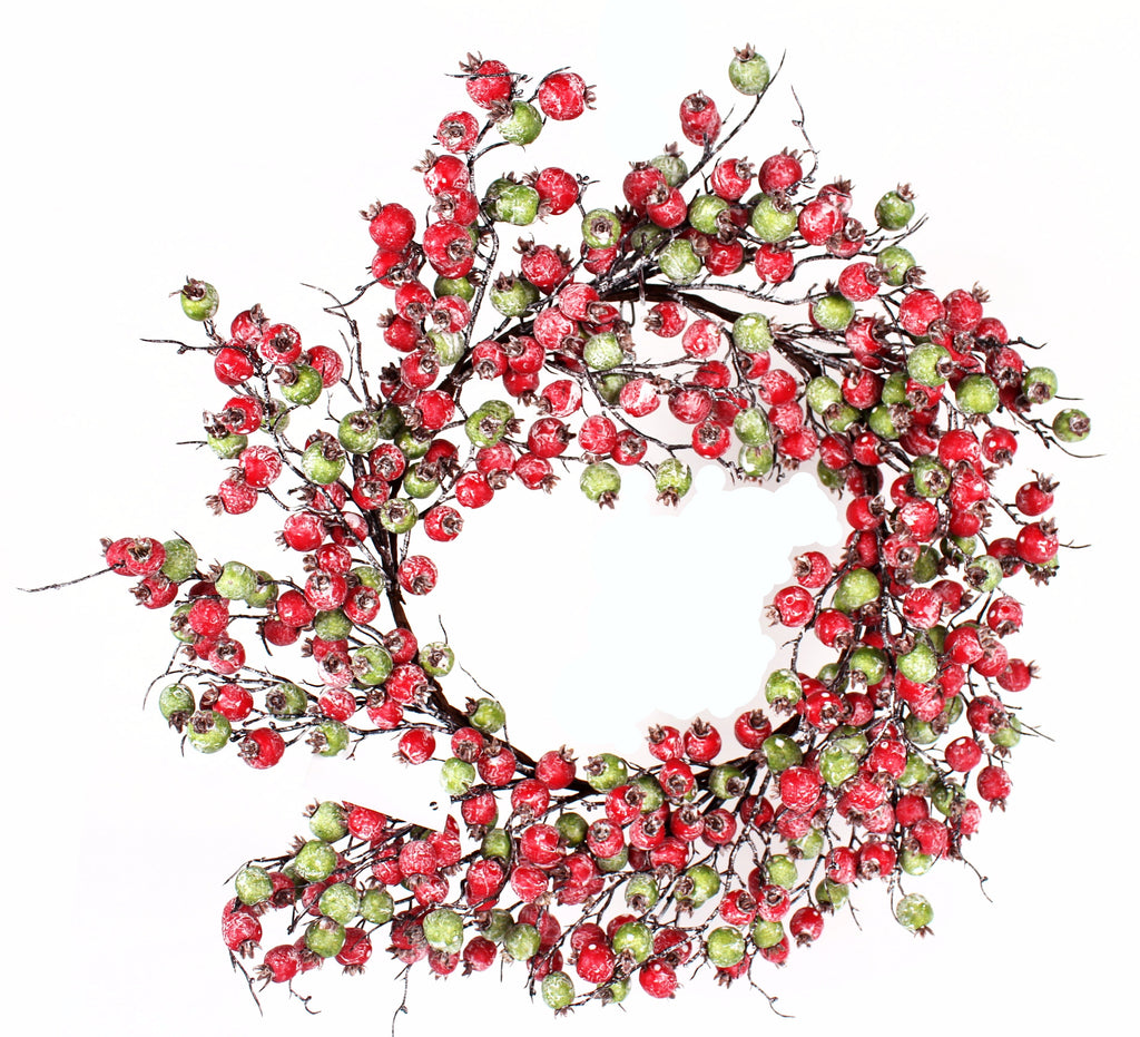RED AND GREEN WHITE WASHED CRABAPPLE WREATH