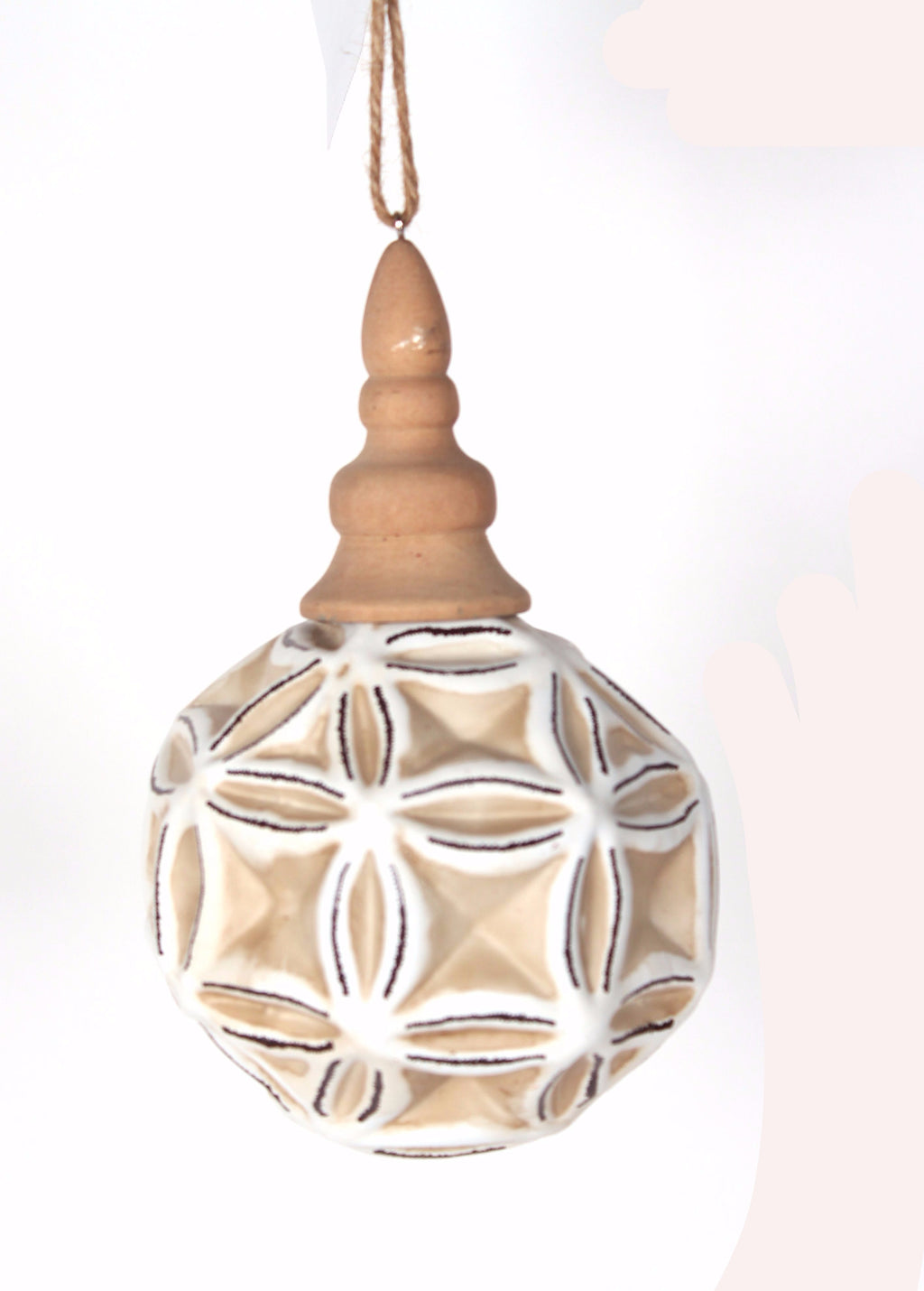 GLASS AND WOOD DIMPLED ORNAMENT