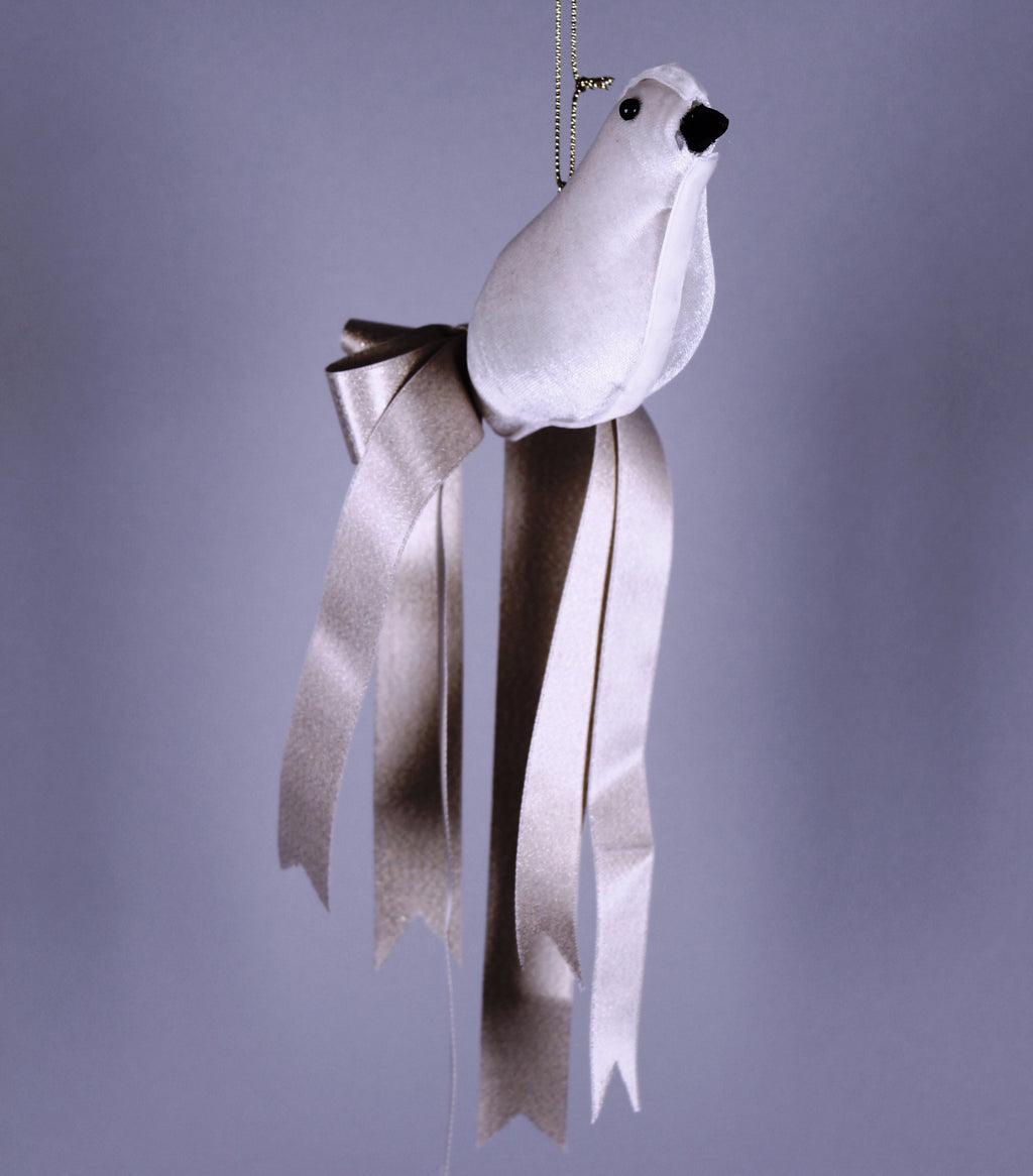 VELVET BIRD WITH SATIN RIBBON TAIL FEATHERS ORNAMENT