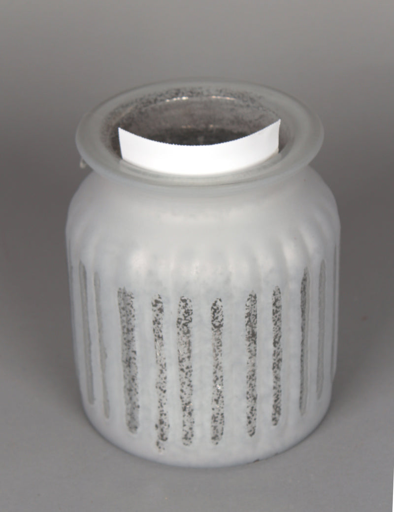 FROSTED RIBBED GLASS VASE